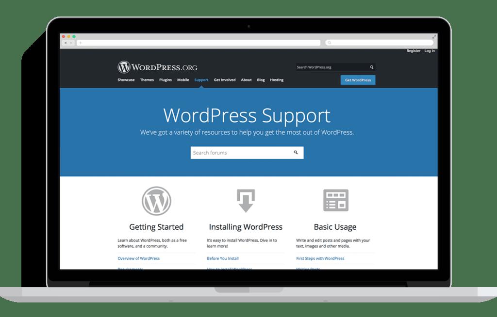 WordPress palīdzības lapa
